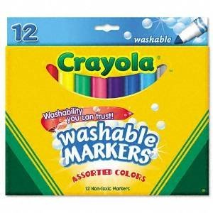 Crayola Washable Markers, 12 Markers, Assorted Colors, Case of 24 Dozens