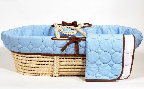 Bacati Quilted Circles Moses Basket, Blue/Brown