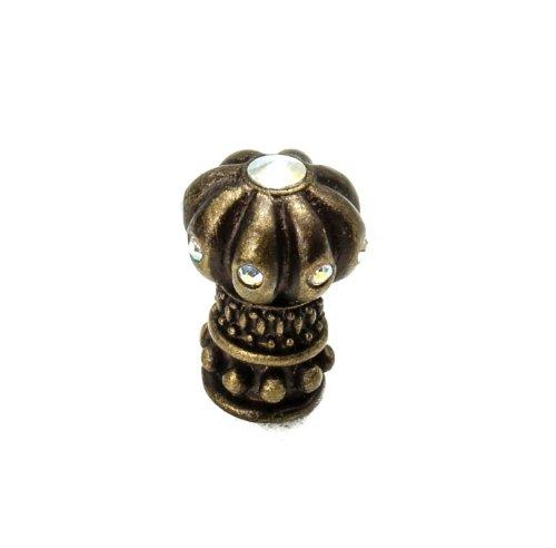 Principessa Crystal - Carpe Diem Hardware 888-3AB Cache Principessa Multi Crystal Knob Made with Swarovski Elements, Antique Brass