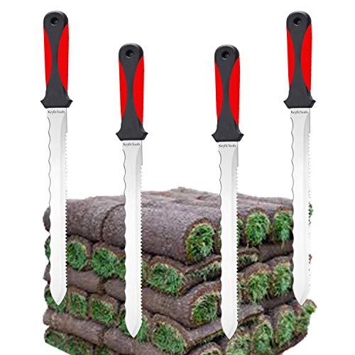 Keyfit Tools (4 Pack SOD Knife Stainless Steel Blade Sod Cutter Trim New sod Around Landscape Edging beds & Sunken, Overgrown Sprinkler Heads Like Hunter PGP Repair Adjust Remove Sprinkler Guard