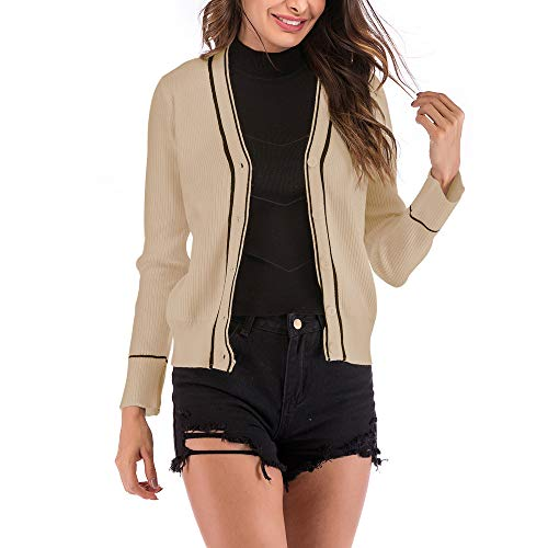 Donna Autunnale Beige Cardigan Invernale Giubbotto Corta Giacche AY55qwg