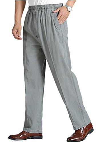 - Soojun Mens Seniors Solid Loose Fit Elastic Casual Pants, Medium Gray, Small