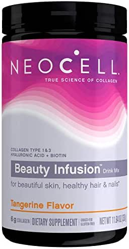 NeoCell Beauty Infusion Collagen Supplement Drink Mix Powder – 6,000mg Collagen Types 1 & 3 – Tangerine Twist Flavored– 11.64 Ounces (Packaging May Vary)