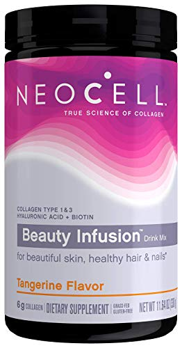 NeoCell Beauty Infusion Collagen Supplement Drink Mix Powder - 6,000mg Collagen Types 1 & 3 - Tangerine Twist Flavored- 11.64 Ounces (Packaging May Vary)