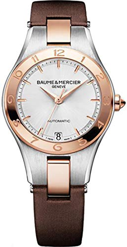Baume & Mercier Linea 10073 Steel and Rose Gold Women's Watch with Brown Strap (Linea Womens Watch)