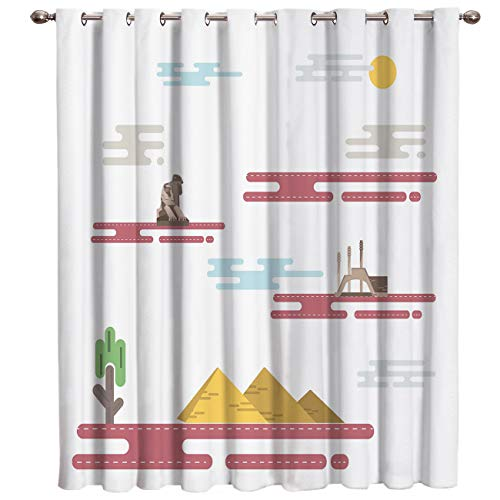BABE MAPS Blackout Curtains with Sliver Grommet 1 Panel Modern Egyptian City Elements Curtain Window Coverings Thermal Insulated Light Blocking Curtains for Living Room -