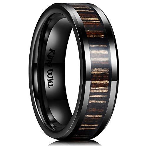 King Will Nature 7mm Mens Black Ceramic Wedding Ring Inlay with Zebra Wood Beveled Edge -