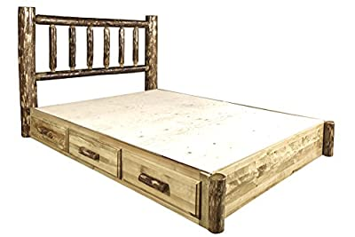 Glacier Country Collection Queen Platform Bed with Storage