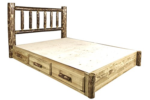 Montana Woodworks MWGCSBPK Glacier Country Collection Platform Bed with Storage, King ()