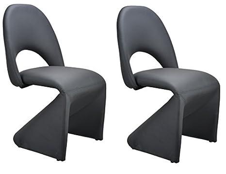 Homexperts Schwingstuhl 2-er Set LOGAN / 2x gepolsterte Esszimmerstühle in modernem Design / Bezug Kunstleder Schwarz / 52 x