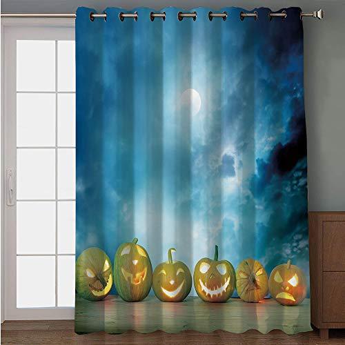 Blackout Patio Door Curtain,Halloween,Spooky Halloween Pumpkins on Wood Table Dramatic Night Sky Print Decorative,Dark Blue Light Blue Yellow,for Sliding & Patio Doors, 102