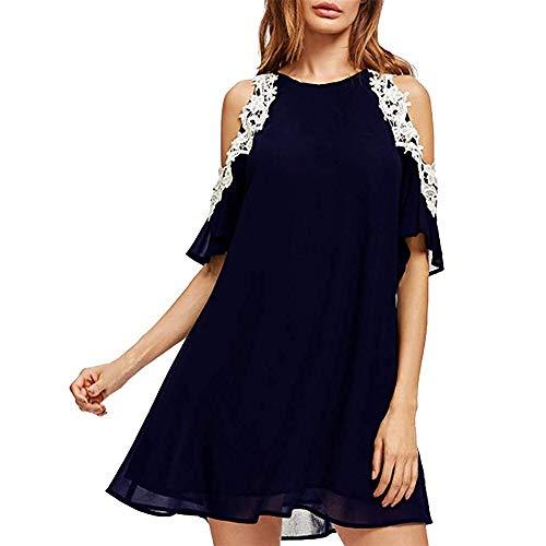 Women's Summer Casual Chiffon Lace Dress Crewneck Solid Elegant Party Sundress Cold Shoulder Plus Size Dress Dark Blue