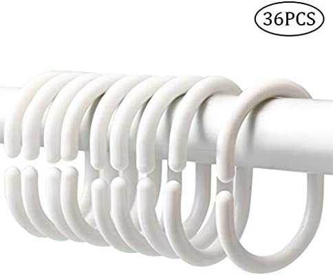 Amazon Com Wode Shop 36 Packs Plastic Shower Curtain Rings Shower