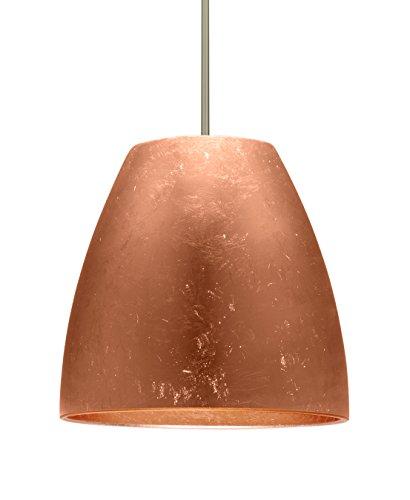 Besa Lighting 1TT-BELL20CF-LED-SN Besa, Bella 20 Stem Pendant, Copper Foil, Satin Nickel Finish, 1x17W Replaceable LED