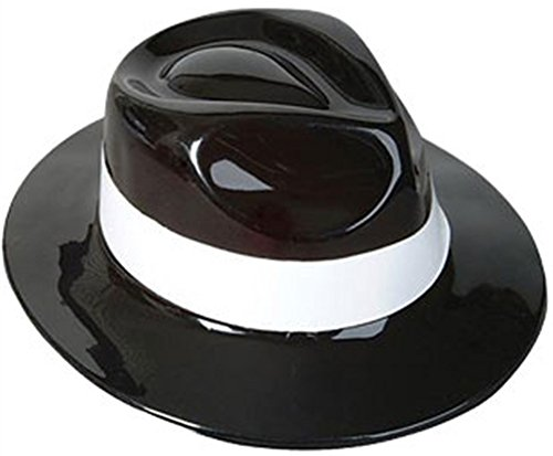 Rhode Island Novelty Black & White Plastic Costume Party Gangster Fedora ()