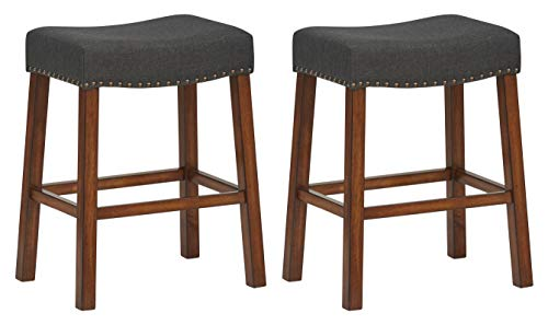 - Ravenna Home Dawn Nailhead Saddle Counter Stool, 24