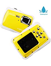 Smyidel Digital Waterproof Camera 12MP HD720p with 3M Waterproof Camera 2.0'' TFT LCD Screen for Sports Swimming Diving and Beaching (Yellow)