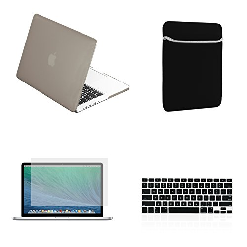 "Free TopCase Macbook Pro 15"" 15-inch A1286 4 in 1 Bundle - Rubberized Hard Case Cover + Matching Color Soft Sleeve Bag + Silicone Keyboard Cover + LCD HD Clear Screen Protector With TopCase Mouse Pad"
