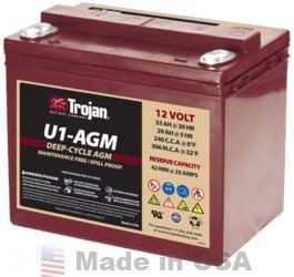 TROJAN U1-AGM 12V, 33AH (20HR) AGM SEALED BATTERY by Trojan Batteries
