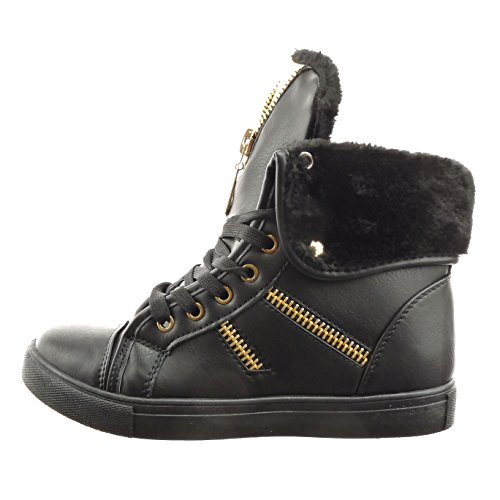 golden damen Schuhe Hohe Rei脽verschluss Sneaker Sopily Schwarz Mode damen Sopily 8wxEUCq8