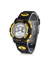 Cool LED Waterproof PASNEW Boys/Girls/Kids/Childrens Digital Sports Watch Gift for 5-12 Years Old (Yellow)
