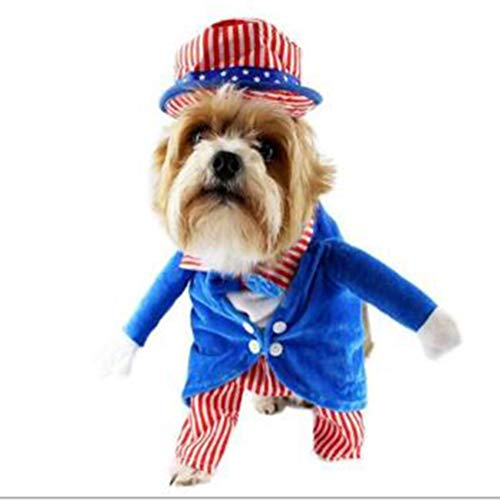 NACOCO Uncle Sam Pet Costume with Hat Dog Standing Clothing 4th of July Independence Day Patriotic Jacket for Dogs Cats (L) -