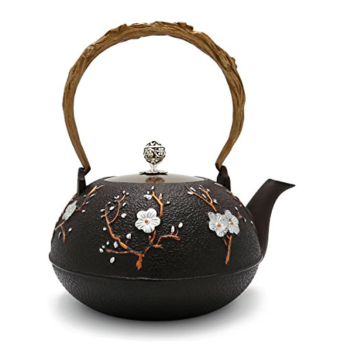 TransSino Treasures 46 Ounce Cast Iron Nobility Teapot with Plum Blossom Motif in Brownish Black