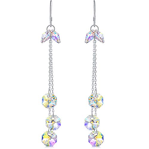 DESIMTION Sterling Silver Long Dangle Earrings for Women Girls Made with Aurora Borealis Swarovski Crystals