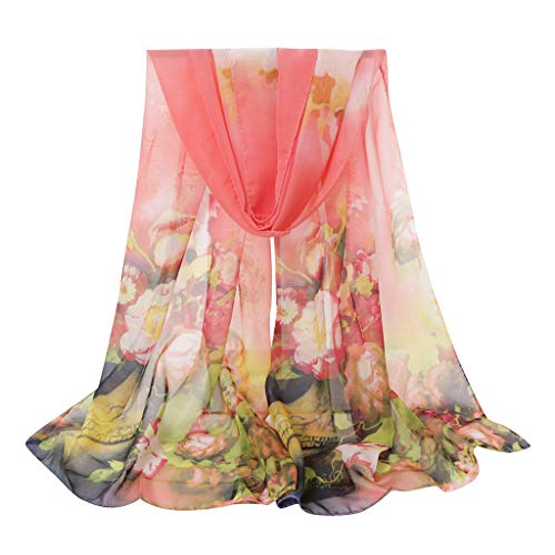 ❤️ Sunbona Clearance Sale Lightweight Beach Scarf for Women Flower Print Long Soft Wrap Scarf Simulation Silk Shawl Scarves (E)