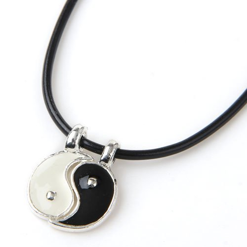 Colgante Collar bañado de plata Yin Yang Negro y Blanco 10mm fitTek 026612