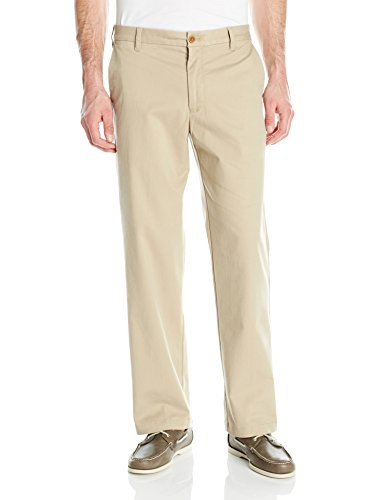 (IZOD Men's Performance Stretch Classic Fit Flat Front Chino Pant, Cedar Wood Khaki, 36W x 32L)