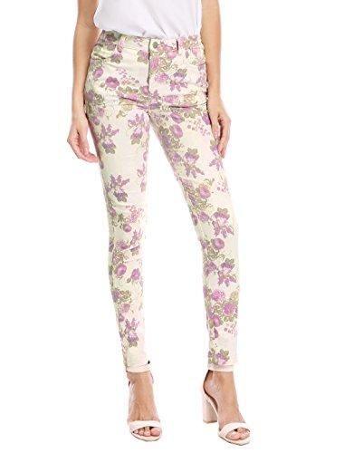 Allegra K Women's Mid Rise Zip Fly Floral Prints Skinny Pants XS ()