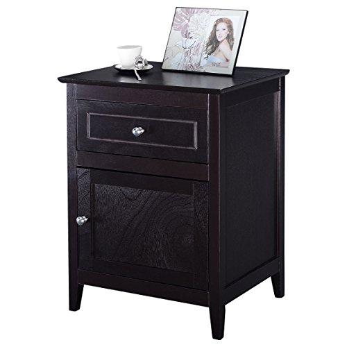 Furinho Bush - Accent End Table Nightstand Bedroom Living Room Furniture Espresso Beechwood YRS ()