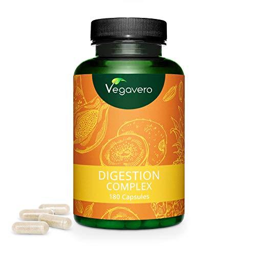 VEGAVERO® Papain Komplex   100% PFLANZLICH   3 Verdauungs- Enzyme   Papain, Bromelain & Actinidin   180 Kapseln   Verbesserter Papaya-Ananas-Enzymkomplex   Ohne Zusatzstoffe   Vegan