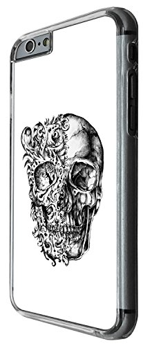 1476 - Cool Fun Trendy skeleton floral walking dead scary skull tattoo biker skull Design iphone 4 4S Coque Fashion Trend Case Coque Protection Cover plastique et métal - Clear
