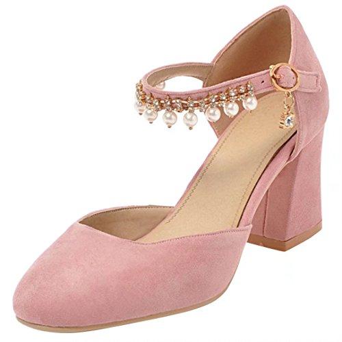 AIYOUMEI Damen Knöchelriemchen Pumps mit Perlen und Strass Blockabsatz High Heels Schuhe Rosa