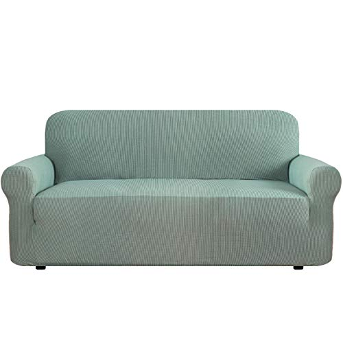 Durable Soft High Stretch Jacquard One Piece Sofa Slipcover Sage Couch Covers Lycra Furniture Protector Machine Washable Spandex Sofa Covers, XL Sofa Size - One Piece Sofa Slipcover