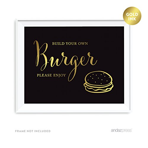 Price comparison product image Andaz Press Wedding Party Signs,  Black and Metallic Gold Ink,  8.5x11-inch,  Build Your Own Burger Bar Please Enjoy Reception Dessert Table Sign,  1-Pack