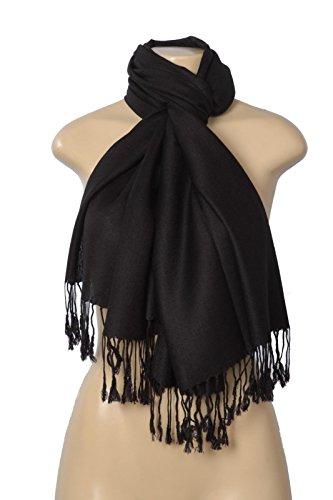 Fashion Scarf Unisex Adult's Solid Pashmina Silk Blend Wrap Scarf, Black