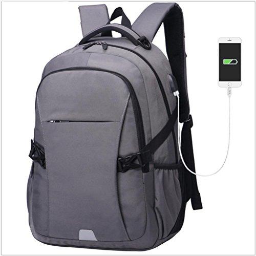 Mochila para portátil Mochilas para viaje de negocios Backpack con puerto de carga USB , NO Puerto de carga USB gris With USB charging port grey
