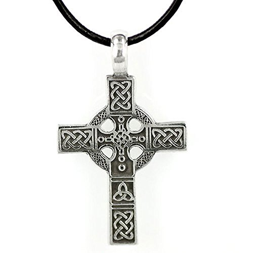 Pewter Circular Necklace (Pewter Celtic Cross Circular Triquetra Knot Leather Jewelry Pendant 20 Inches Necklace)