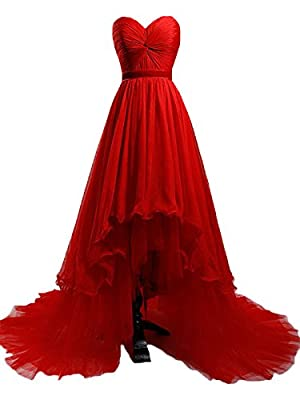 Felaladress Princess A-line Ball Gown Red High Low Chiffon Prom Dress