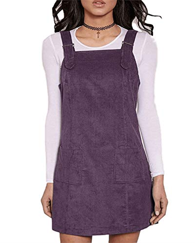 FLORHO Women Casual Spaghetti Strap Overalls Loose Jumper Dress With Side Pocket Purple XL
