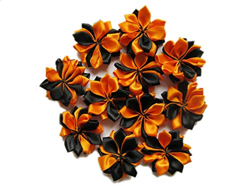 Halloween Hair Bow Diy (YYCRAFT 40pcs Satin Ribbon Flower Applique for Sewing Embellishment and DIY Hair Bows Headband Halloween Decoration)