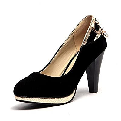 AmoonyFashion Women's Frosted Round Closed Toe High-Heels Pull-on Solid Pumps-Shoes