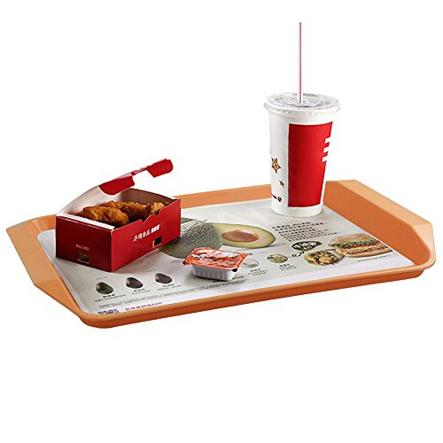 """Qsbon Plastic Fast Food Trays for Eating, 17"""" x 11.8"""", Set of 4"""