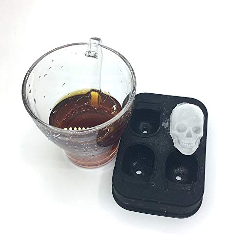1 piece Skull Shaped Silicone Mold DIY Candy Ice Cream Popsicle Mold Pudding Soap Ice Moulds Halloween Gift ()