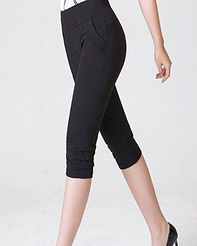 Vita Elastica Pantaloni Vita Casual Capri Nero Donna Alta Leggings Plus Dimensioni WIq8Bx1S