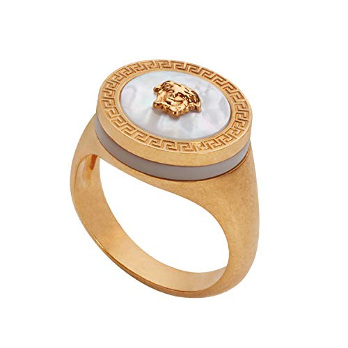 Versace Men's Mother of Pearl Medusa Ring Sz 23