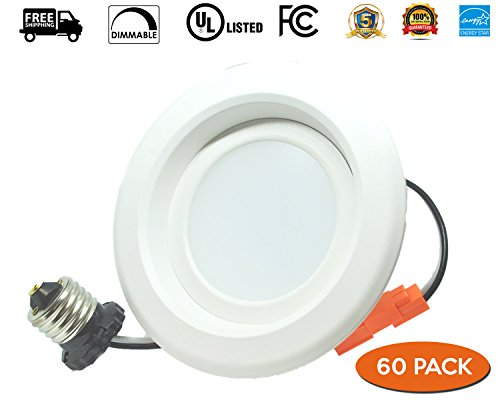 6 Inch 13W Recessed Downlight , LED Dimmable Retrofit Kit,Smooth Trim, 3000K,UL LISTED , Energy Star , 1200 Lumens, 5 Year Warranty , 60 PACK by EZ In Touch With Tomorrow (Image #4)